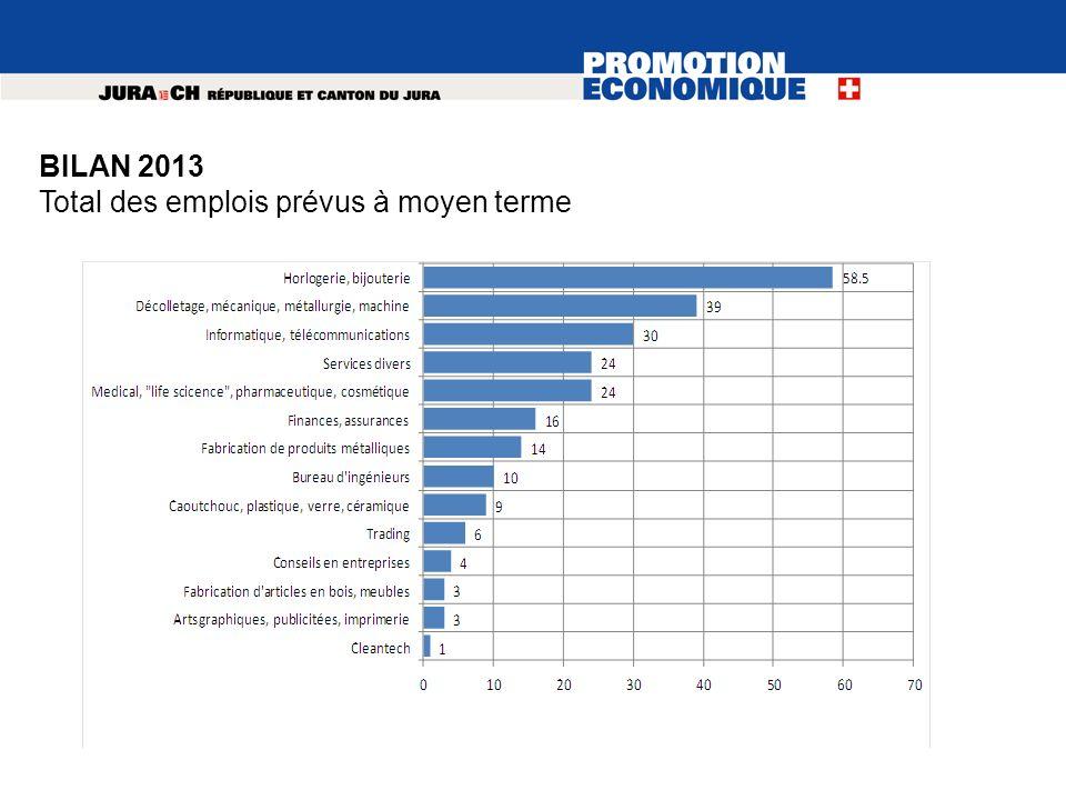 BILAN 2013 Total des emplois prévus à moyen terme
