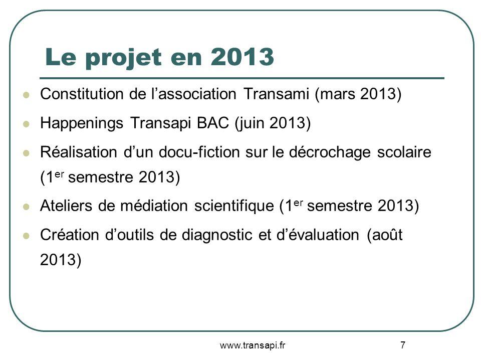 7 Le projet en 2013 Constitution de lassociation Transami (mars 2013) Happenings Transapi BAC (juin 2013) Réalisation dun docu-fiction sur le décrocha