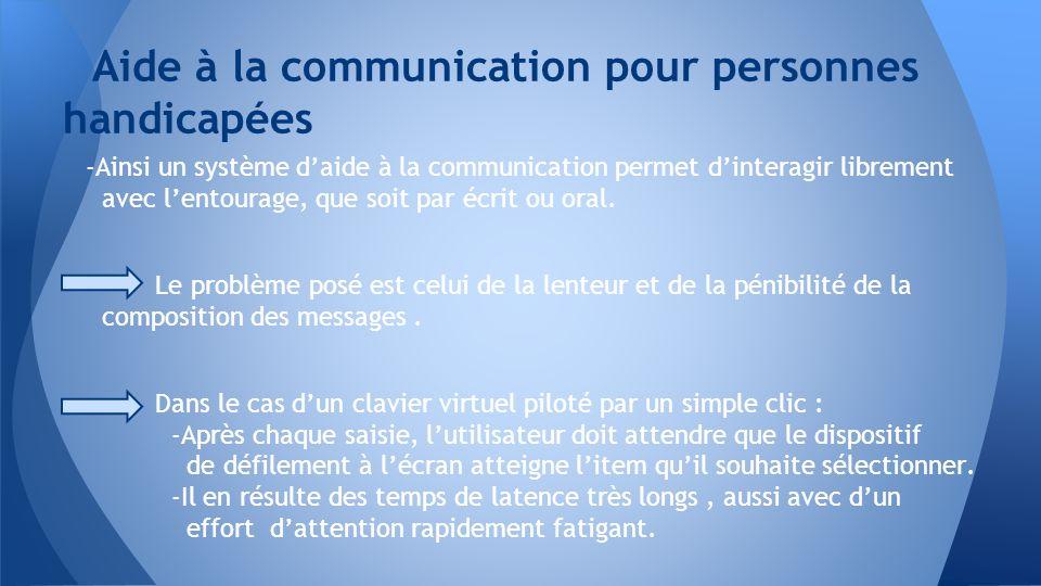 -Ainsi un système daide à la communication permet dinteragir librement avec lentourage, que soit par écrit ou oral. Le problème posé est celui de la l