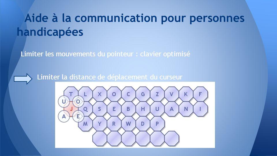Limiter les mouvements du pointeur : clavier optimisé Limiter la distance de déplacement du curseur Aide à la communication pour personnes handicapées