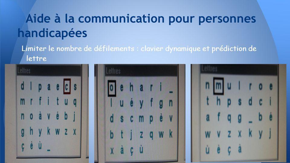 Limiter le nombre de défilements : clavier dynamique et prédiction de lettre Aide à la communication pour personnes handicapées