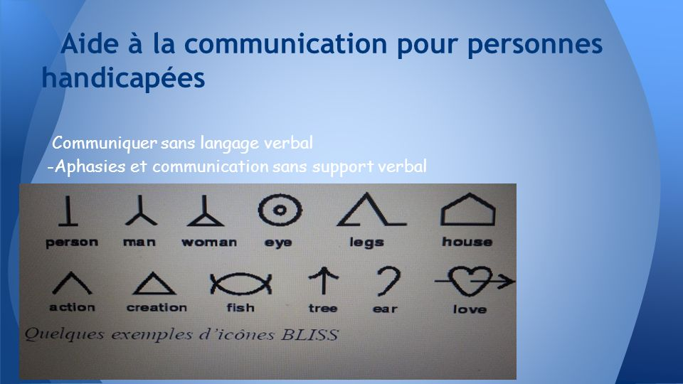 Communiquer sans langage verbal -Aphasies et communication sans support verbal Aide à la communication pour personnes handicapées