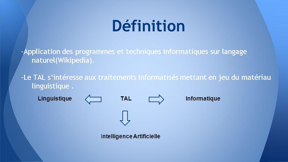 -Application des programmes et techniques informatiques sur langage naturel(Wikipedia). -Le TAL sintéresse aux traitements informatisés mettant en jeu
