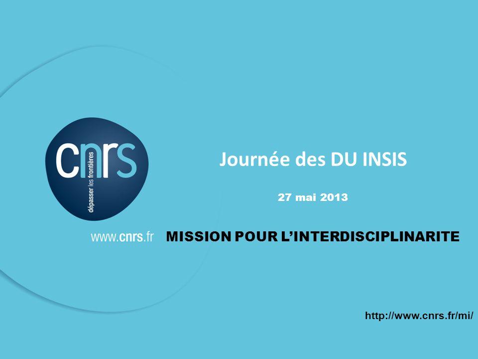 1 Journée des DU INSIS 27 mai 2013 MISSION POUR LINTERDISCIPLINARITE http://www.cnrs.fr/mi/