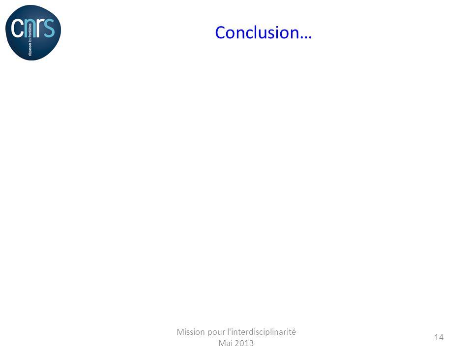 Conclusion… Mission pour l interdisciplinarité Mai 2013 14