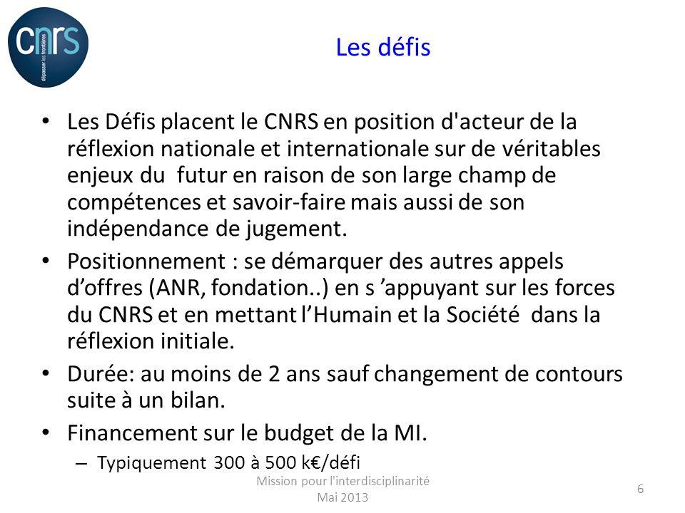 Les défis Les Défis placent le CNRS en position d acteur de la réflexion nationale et internationale sur de véritables enjeux du futur en raison de son large champ de compétences et savoir-faire mais aussi de son indépendance de jugement.
