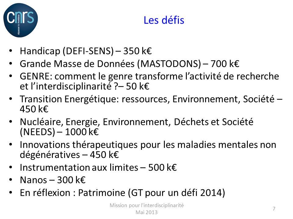 Les défis Handicap (DEFI-SENS) – 350 k Grande Masse de Données (MASTODONS) – 700 k GENRE: comment le genre transforme lactivité de recherche et linterdisciplinarité – 50 k Transition Energétique: ressources, Environnement, Société – 450 k Nucléaire, Energie, Environnement, Déchets et Société (NEEDS) – 1000 k Innovations thérapeutiques pour les maladies mentales non dégénératives – 450 k Instrumentation aux limites – 500 k Nanos – 300 k En réflexion : Patrimoine (GT pour un défi 2014) Mission pour l interdisciplinarité Mai 2013 7