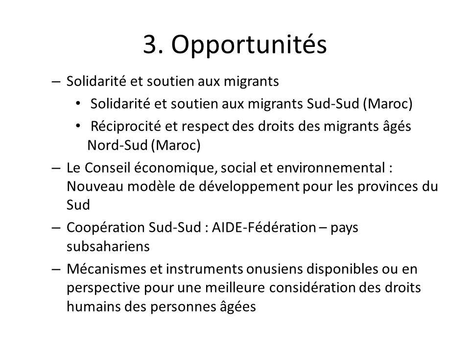 3. Opportunités – Solidarité et soutien aux migrants Solidarité et soutien aux migrants Sud-Sud (Maroc) Réciprocité et respect des droits des migrants