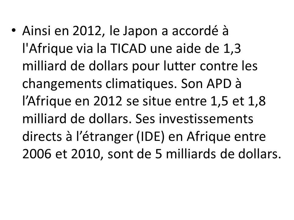 Ainsi en 2012, le Japon a accordé à l'Afrique via la TICAD une aide de 1,3 milliard de dollars pour lutter contre les changements climatiques. Son APD
