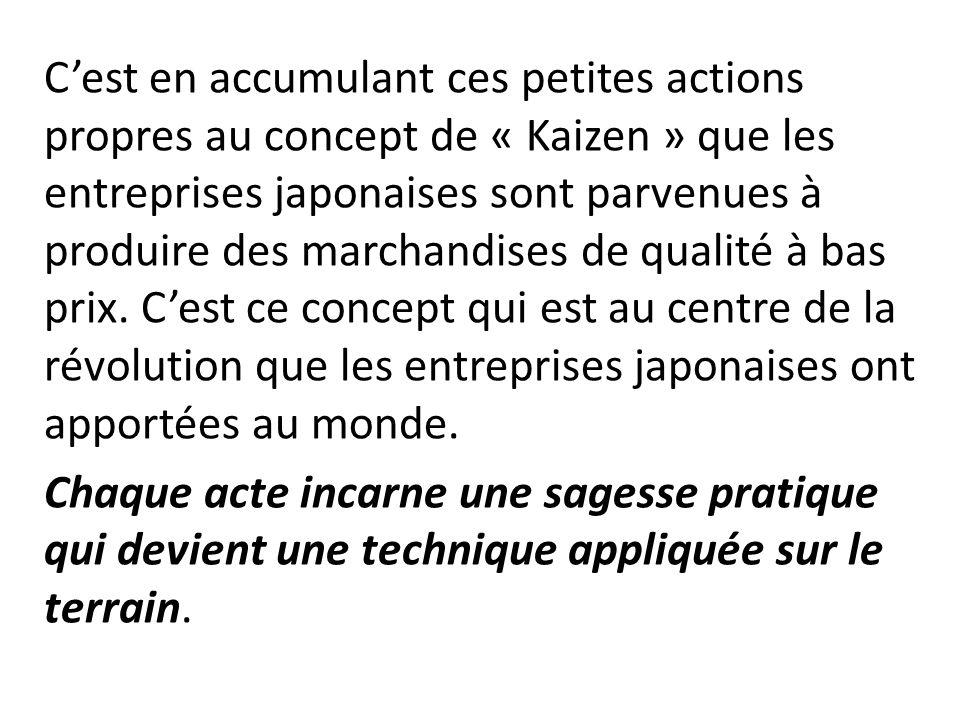 Cest en accumulant ces petites actions propres au concept de « Kaizen » que les entreprises japonaises sont parvenues à produire des marchandises de qualité à bas prix.