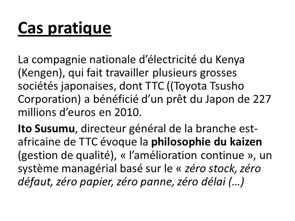 Cas pratique La compagnie nationale délectricité du Kenya (Kengen), qui fait travailler plusieurs grosses sociétés japonaises, dont TTC ((Toyota Tsusho Corporation) a bénéficié dun prêt du Japon de 227 millions deuros en 2010.