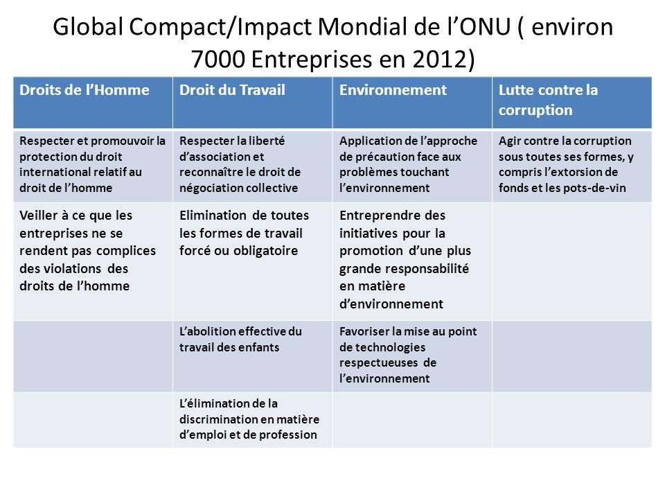 Global Compact/Impact Mondial de lONU ( environ 7000 Entreprises en 2012) Droits de lHommeDroit du TravailEnvironnementLutte contre la corruption Resp