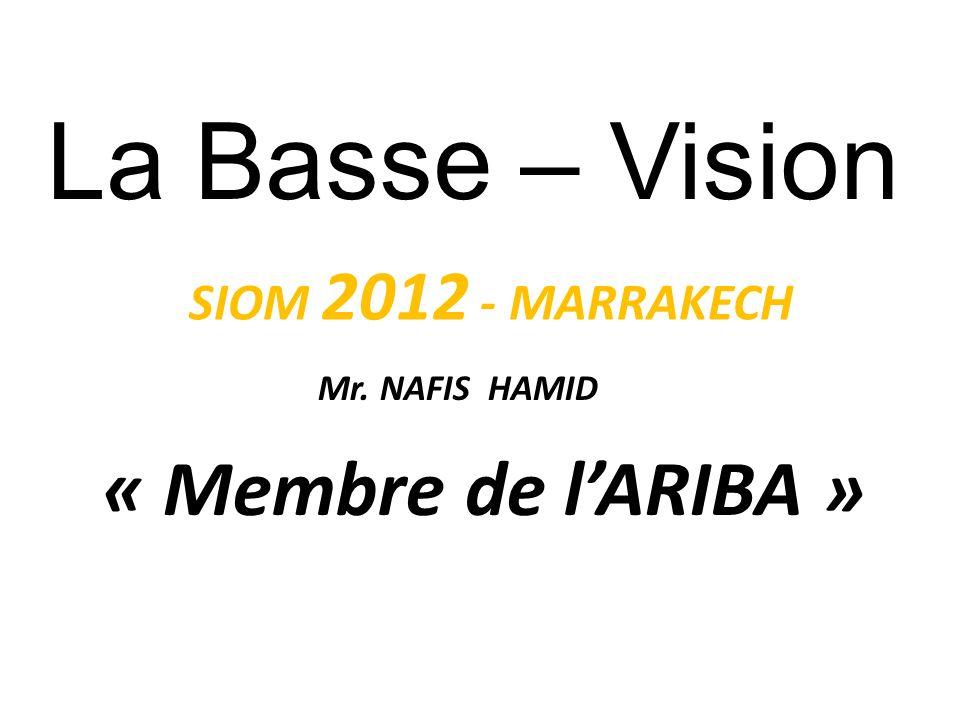 La Basse – Vision Mr. NAFIS HAMID « Membre de lARIBA » Association Francophone des Professionnels de Basse Vision SIOM 2012 - MARRAKECH www.optonaf.ma