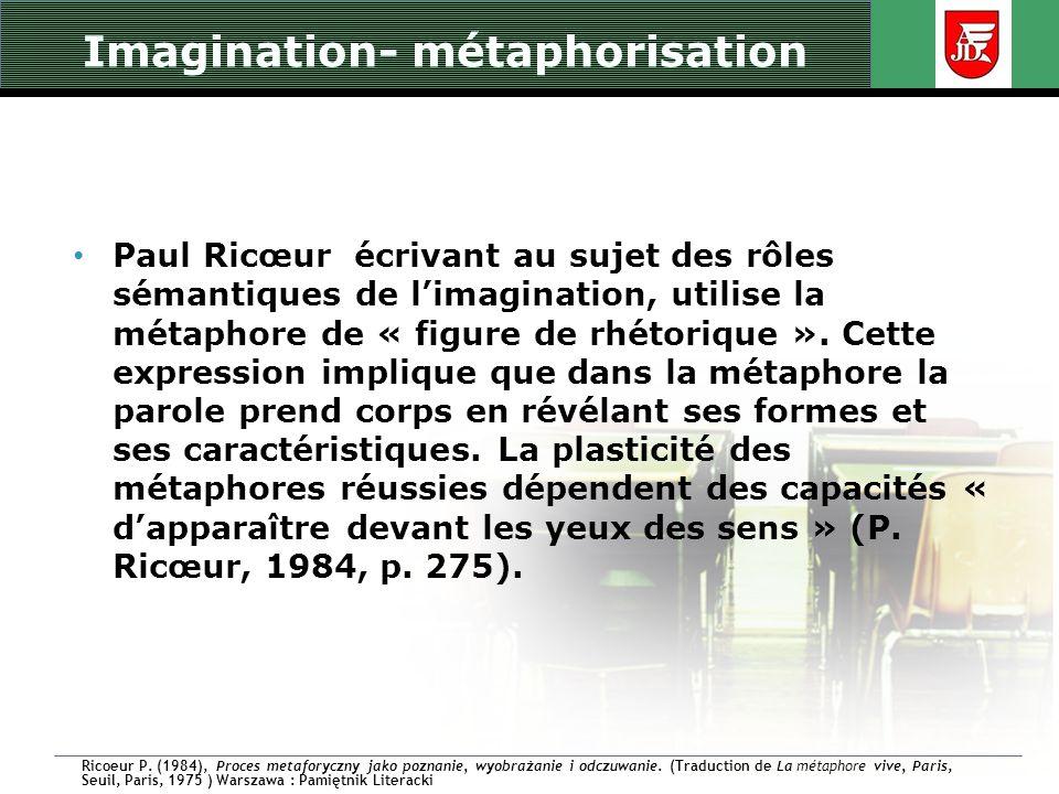 Imagination- métaphorisation Paul Ricœur écrivant au sujet des rôles sémantiques de limagination, utilise la métaphore de « figure de rhétorique ». Ce