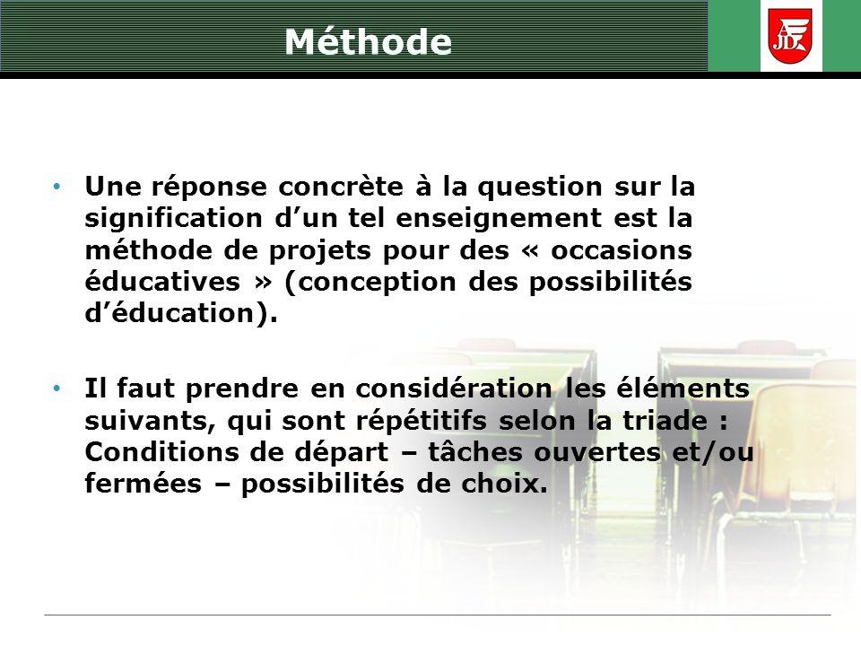 Méthode Une réponse concrète à la question sur la signification dun tel enseignement est la méthode de projets pour des « occasions éducatives » (conc