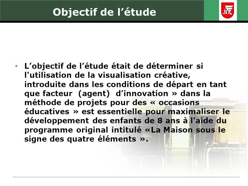 Objectif de létude Lobjectif de létude était de déterminer si l'utilisation de la visualisation créative, introduite dans les conditions de départ en