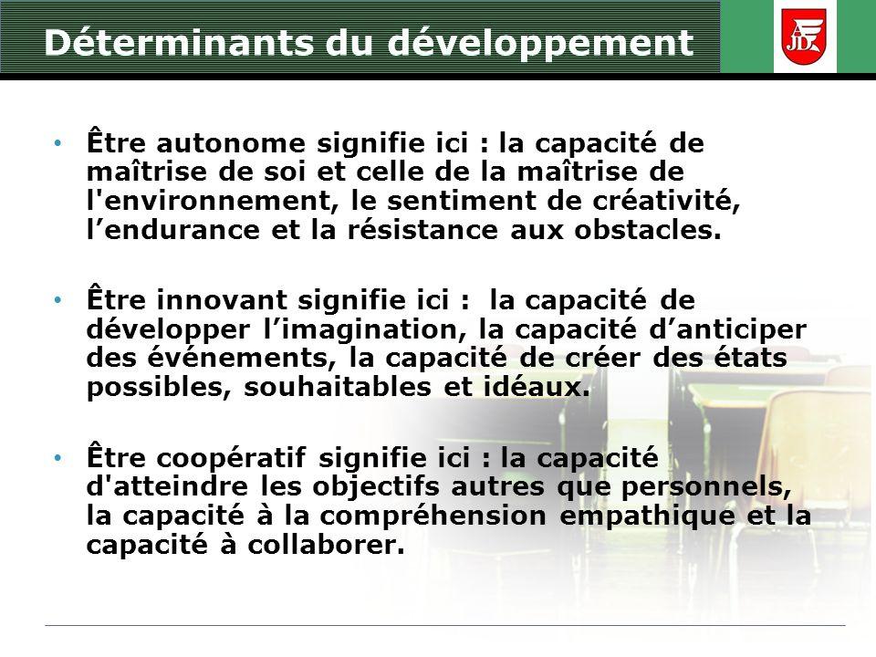 Déterminants du développement Être autonome signifie ici : la capacité de maîtrise de soi et celle de la maîtrise de l'environnement, le sentiment de