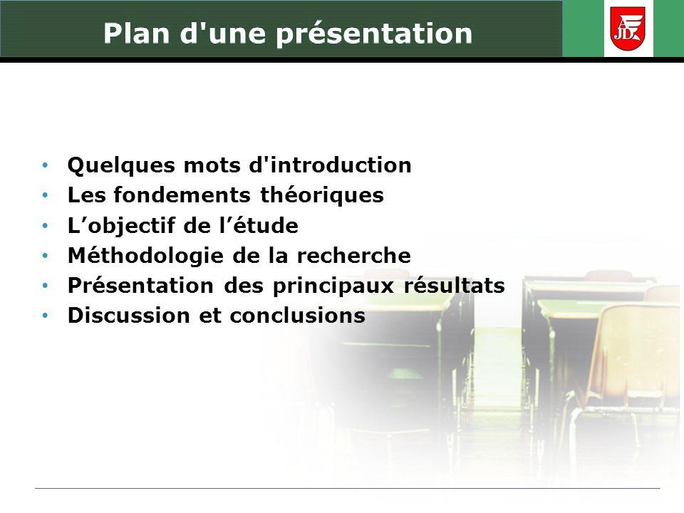Plan d'une présentation Quelques mots d'introduction Les fondements théoriques Lobjectif de létude Méthodologie de la recherche Présentation des princ