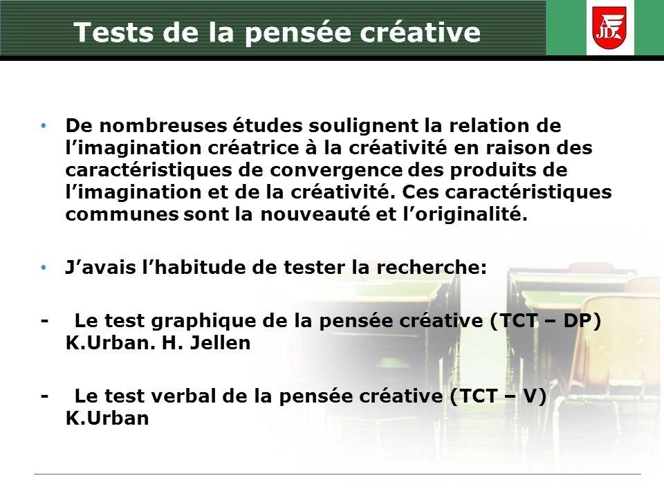 Tests de la pensée créative De nombreuses études soulignent la relation de limagination créatrice à la créativité en raison des caractéristiques de co