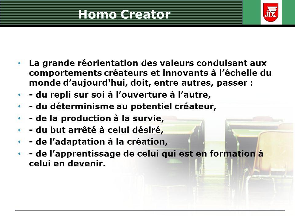 Homo Creator La grande réorientation des valeurs conduisant aux comportements créateurs et innovants à léchelle du monde daujourd'hui, doit, entre aut