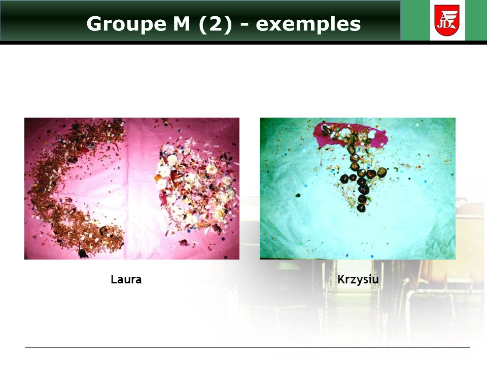 Groupe M (2) - exemples Laura Krzysiu