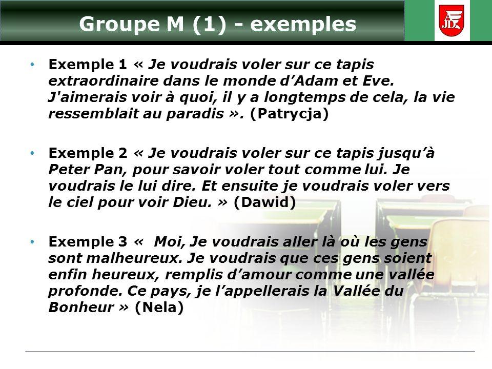 Groupe M (1) - exemples Exemple 1 « Je voudrais voler sur ce tapis extraordinaire dans le monde dAdam et Eve. J'aimerais voir à quoi, il y a longtemps