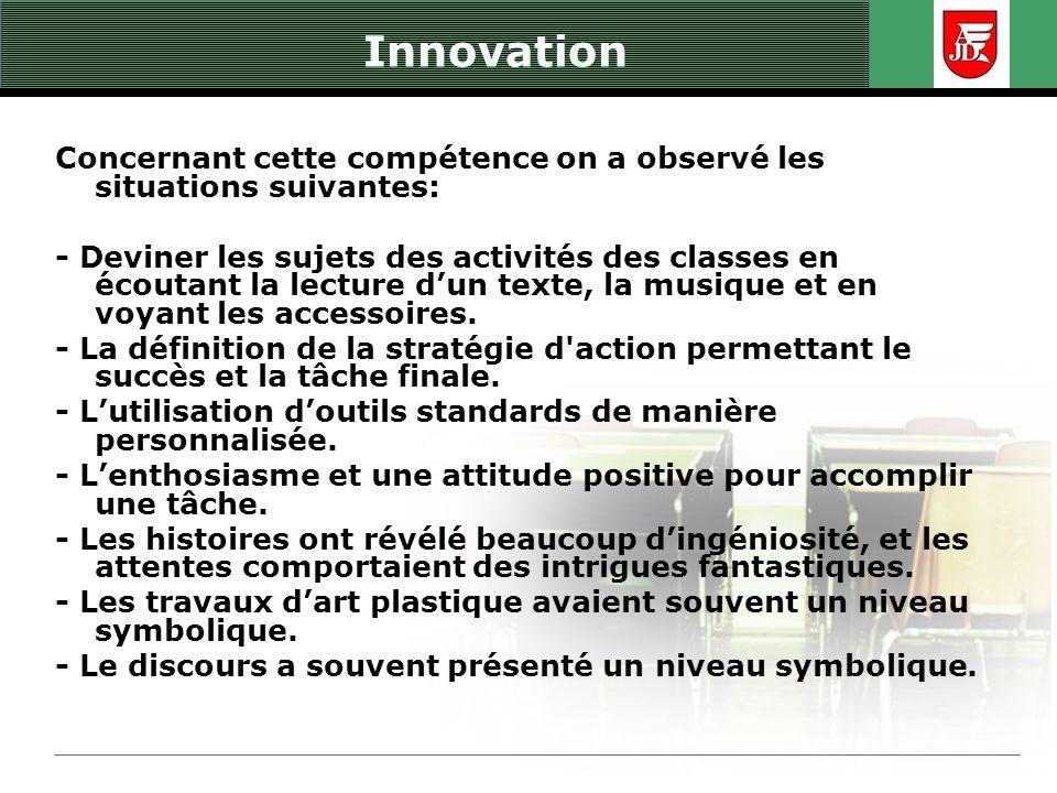 Innovation Concernant cette compétence on a observé les situations suivantes: - Deviner les sujets des activités des classes en écoutant la lecture du