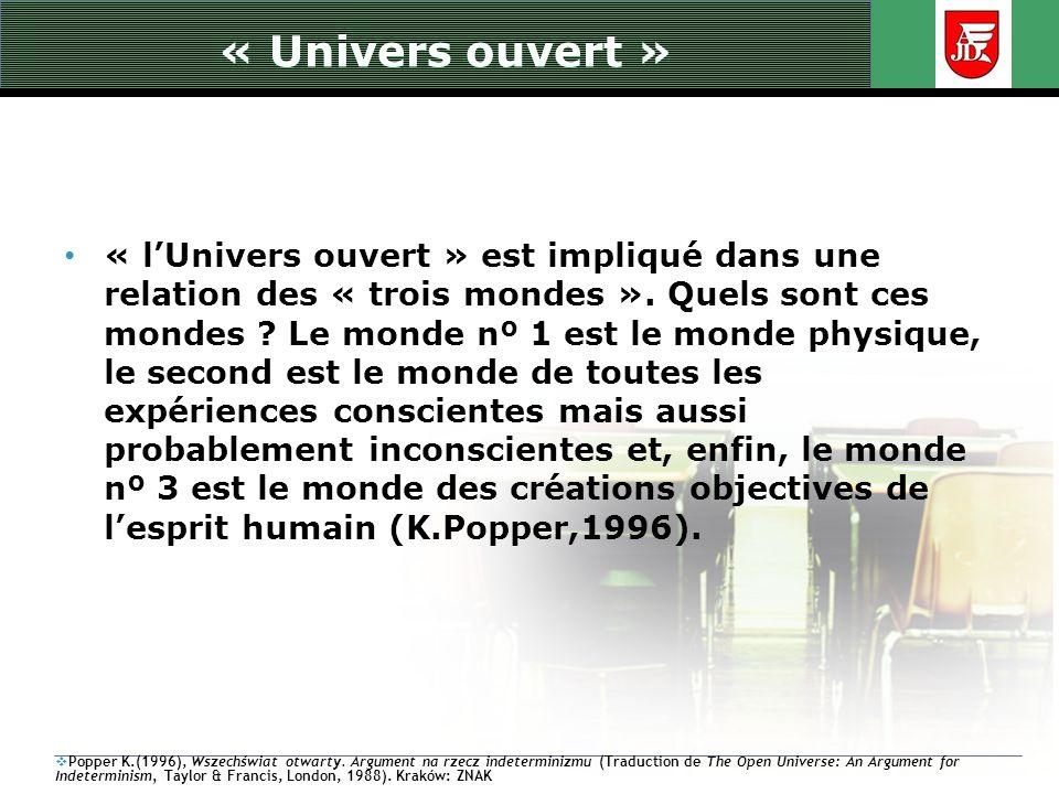 « Univers ouvert » « lUnivers ouvert » est impliqué dans une relation des « trois mondes ». Quels sont ces mondes ? Le monde nº 1 est le monde physiqu