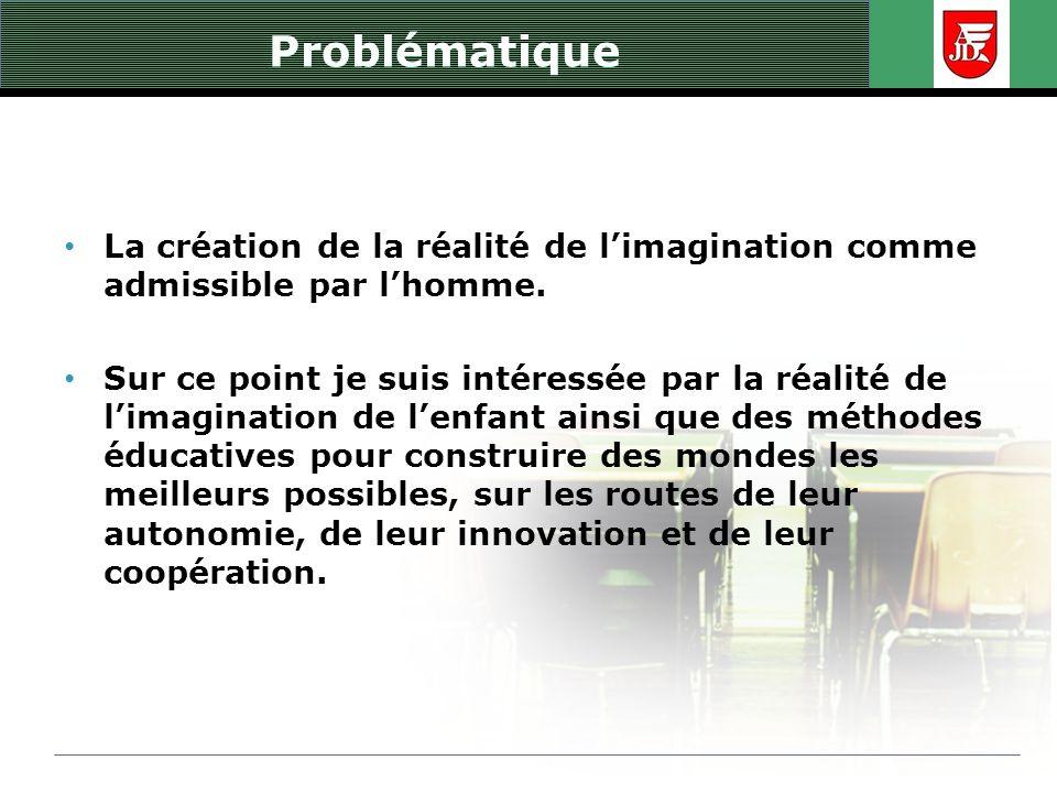 Problématique La création de la réalité de limagination comme admissible par lhomme. Sur ce point je suis intéressée par la réalité de limagination de