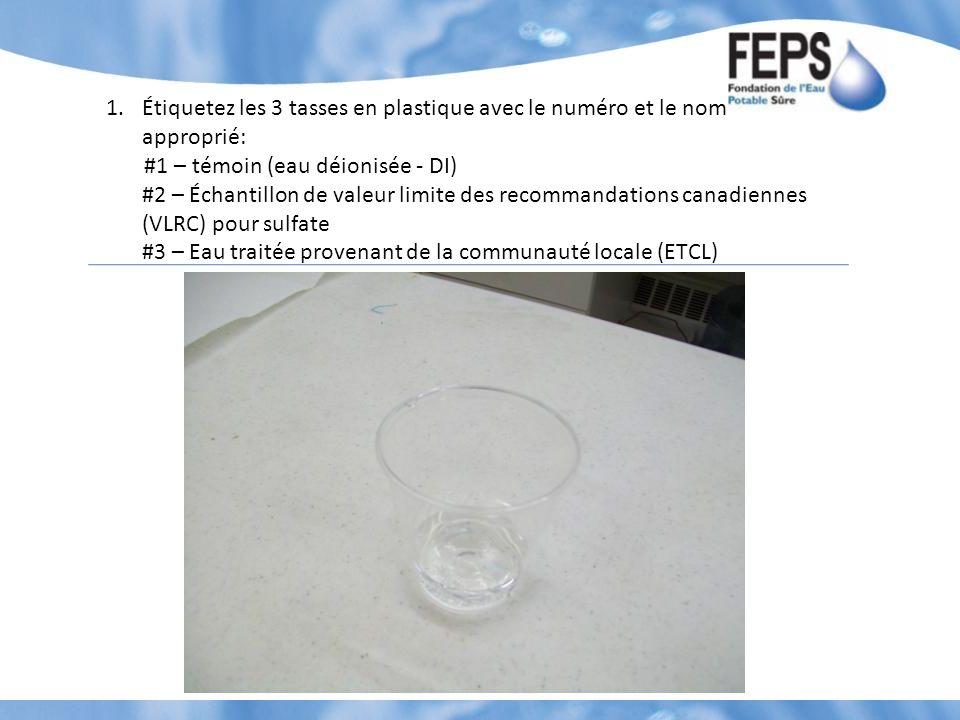 1.Étiquetez les 3 tasses en plastique avec le numéro et le nom approprié: #1 – témoin (eau déionisée - DI) #2 – Échantillon de valeur limite des recommandations canadiennes (VLRC) pour sulfate #3 – Eau traitée provenant de la communauté locale (ETCL)