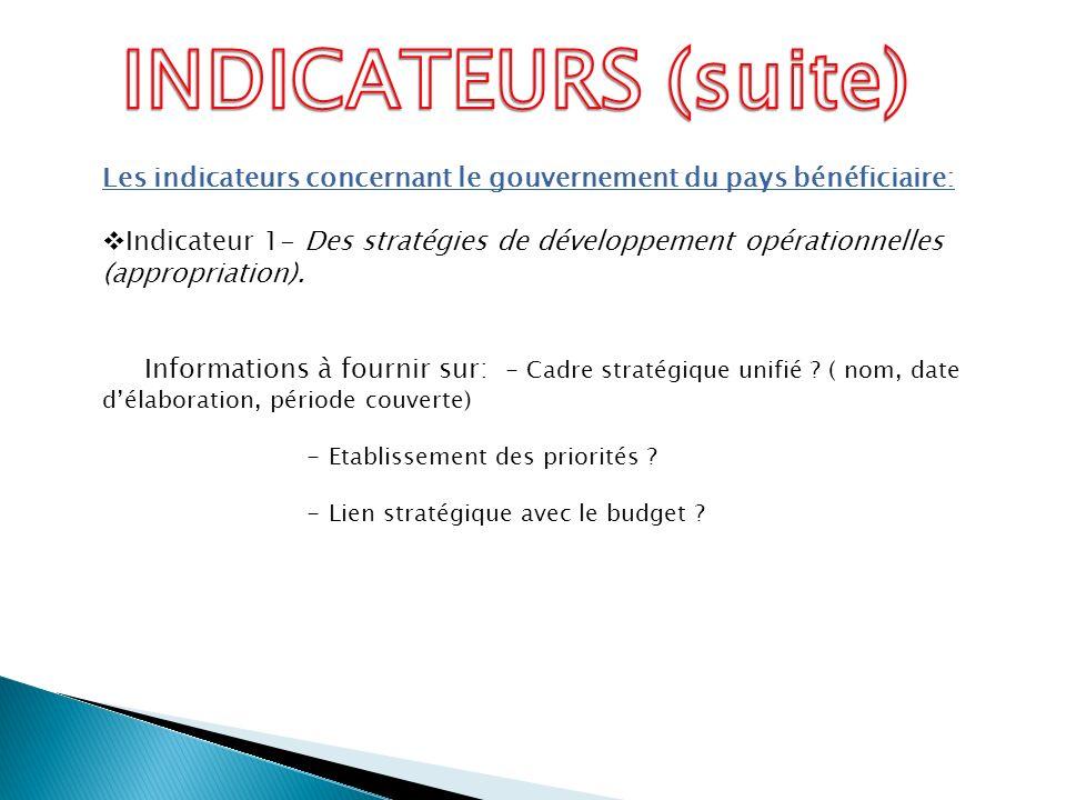 Les indicateurs concernant le gouvernement du pays bénéficiaire: Indicateur 1- Des stratégies de développement opérationnelles (appropriation). Inform