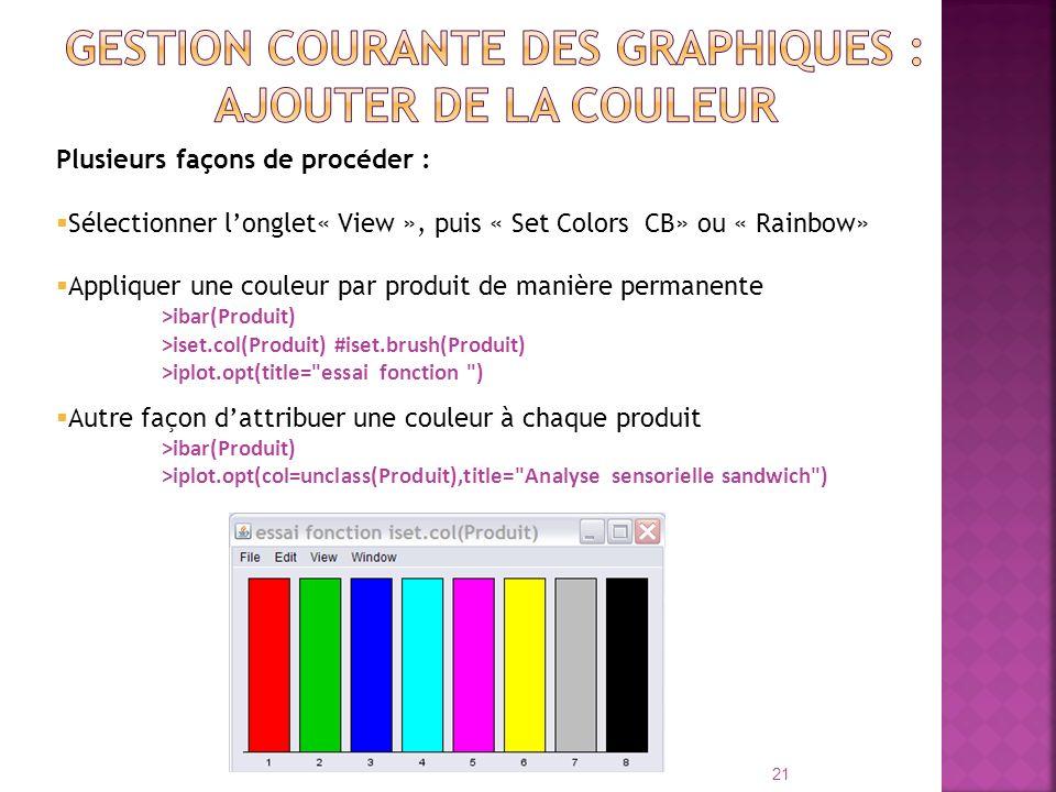 Plusieurs façons de procéder : Sélectionner longlet« View », puis « Set Colors CB» ou « Rainbow» Appliquer une couleur par produit de manière permanen