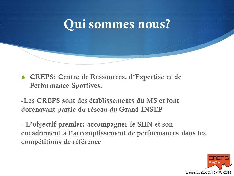 Laurent FRECON 19/03/2014 Qui sommes nous? CREPS: Centre de Ressources, dExpertise et de Performance Sportives. -Les CREPS sont des établissements du