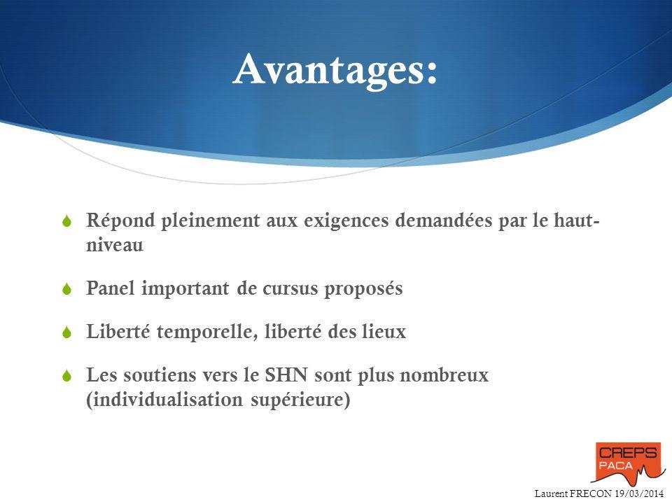 Laurent FRECON 19/03/2014 Avantages: Répond pleinement aux exigences demandées par le haut- niveau Panel important de cursus proposés Liberté temporel