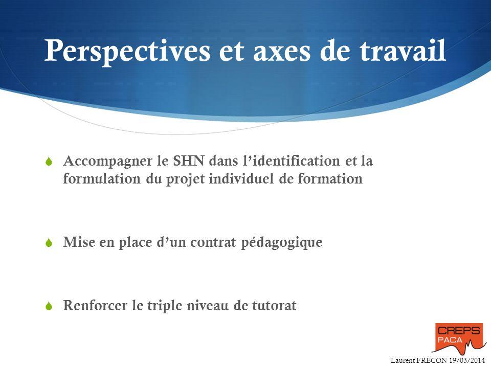 Laurent FRECON 19/03/2014 Perspectives et axes de travail Accompagner le SHN dans lidentification et la formulation du projet individuel de formation
