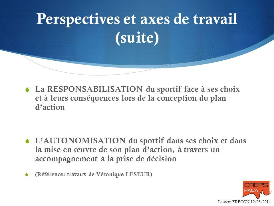 Laurent FRECON 19/03/2014 Perspectives et axes de travail (suite) La RESPONSABILISATION du sportif face à ses choix et à leurs conséquences lors de la