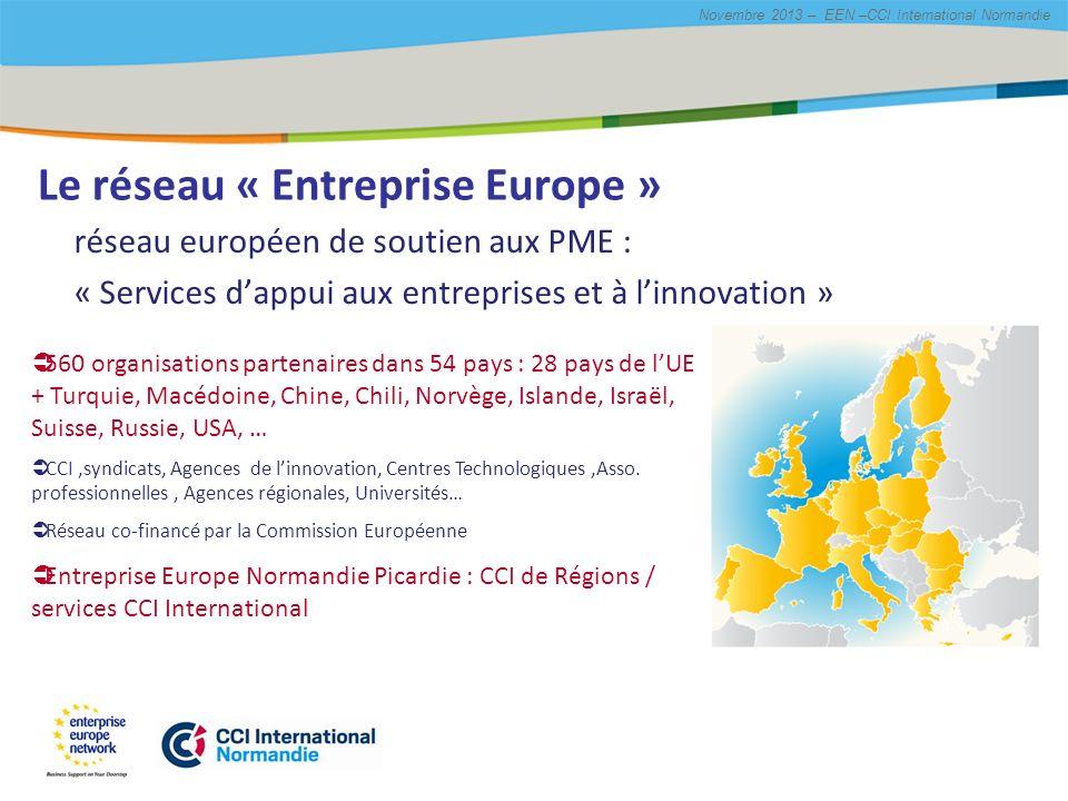 Title of the presentation   Date  # Novembre 2013 – EEN –CCI International Normandie Les missions du réseau EEN RéglementationAccès aux marchés InnovationLobbying Savoir faire Entreprise Europe http://een.ec.europa.eu/home
