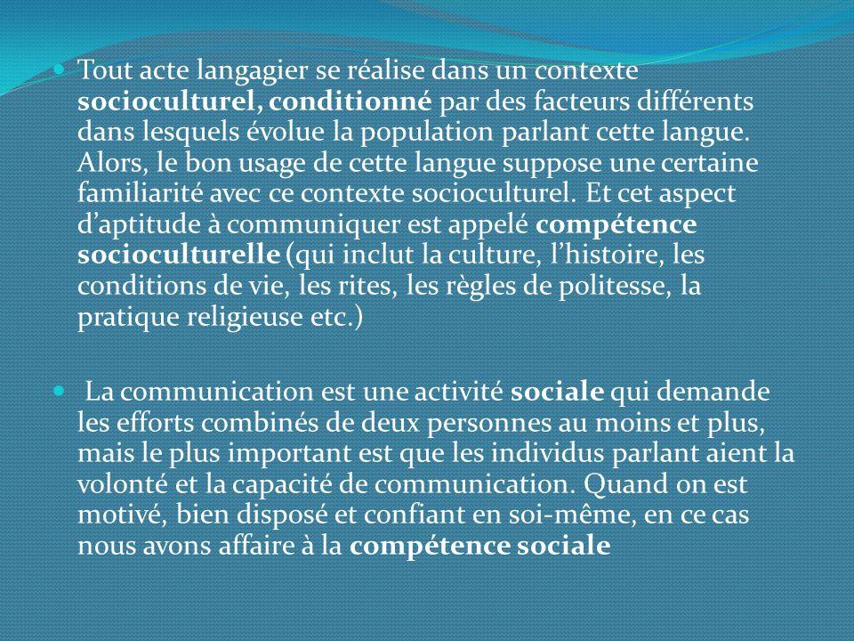 Tout acte langagier se réalise dans un contexte socioculturel, conditionné par des facteurs différents dans lesquels évolue la population parlant cette langue.