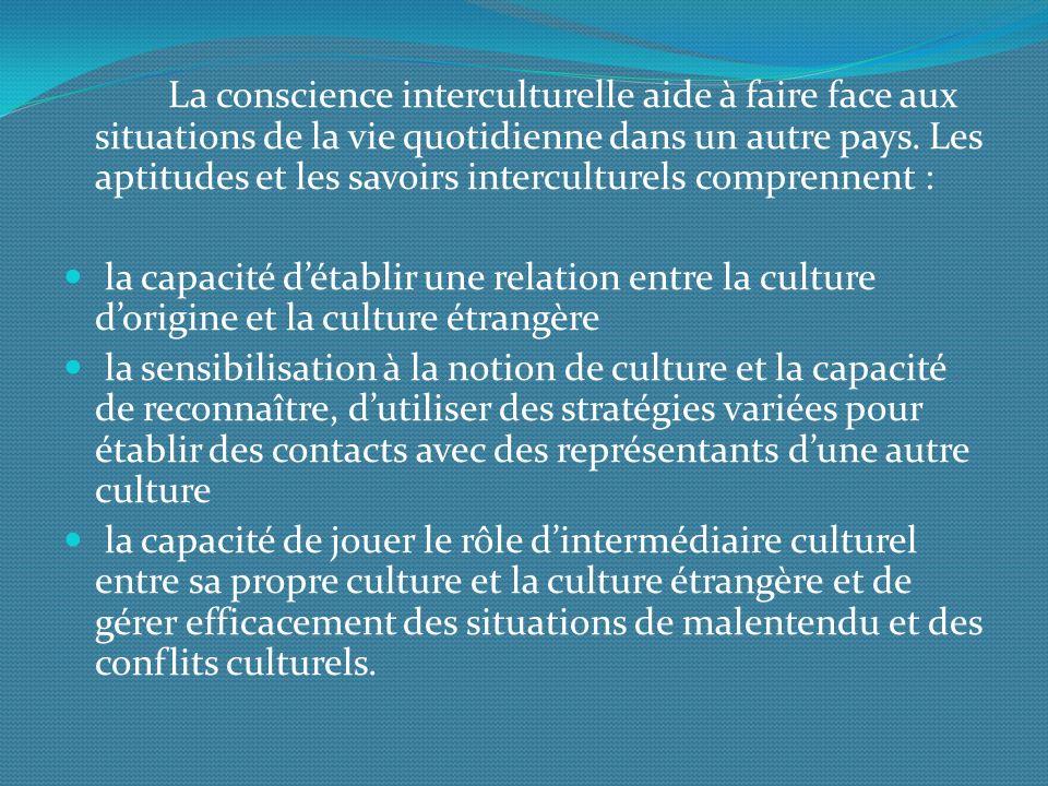 La conscience interculturelle aide à faire face aux situations de la vie quotidienne dans un autre pays.