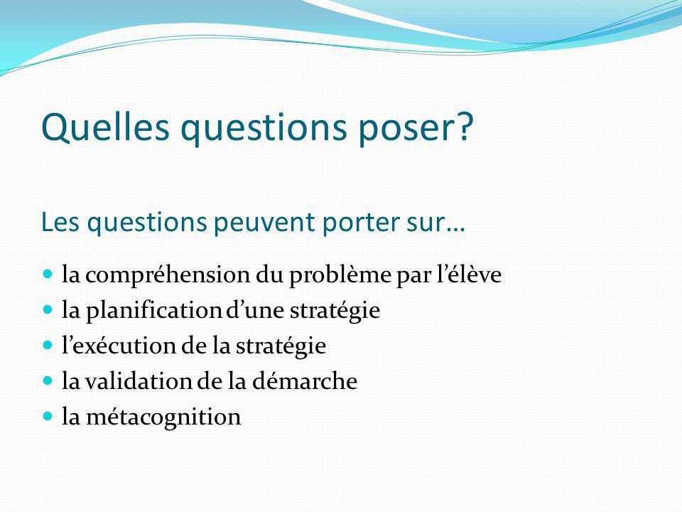 Quelles questions poser? Les questions peuvent porter sur… la compréhension du problème par lélève la planification dune stratégie lexécution de la st