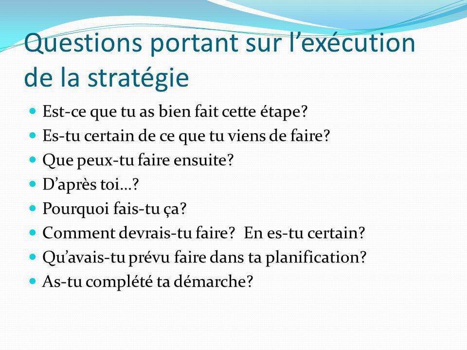 Questions portant sur lexécution de la stratégie Est-ce que tu as bien fait cette étape? Es-tu certain de ce que tu viens de faire? Que peux-tu faire