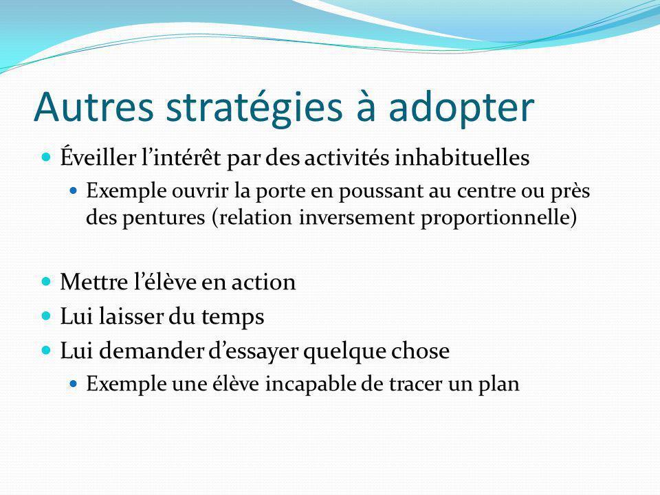 Autres stratégies à adopter Éveiller lintérêt par des activités inhabituelles Exemple ouvrir la porte en poussant au centre ou près des pentures (rela