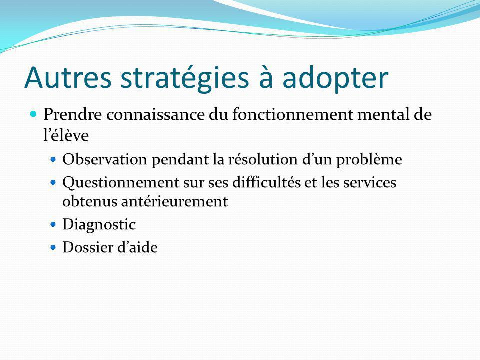 Autres stratégies à adopter Prendre connaissance du fonctionnement mental de lélève Observation pendant la résolution dun problème Questionnement sur