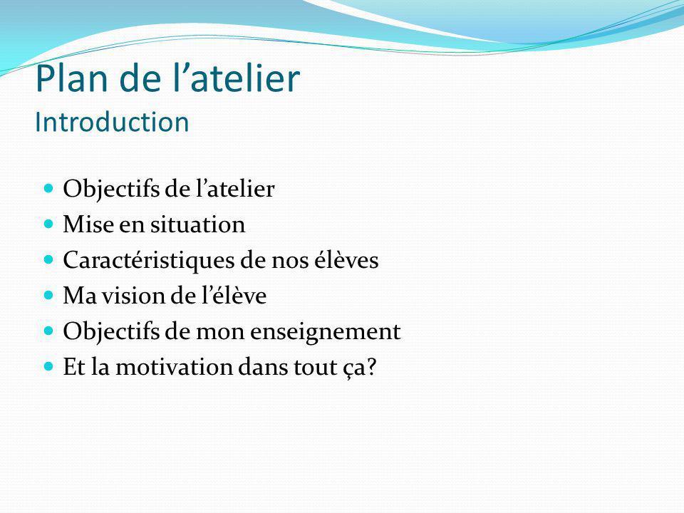Plan de latelier Introduction Objectifs de latelier Mise en situation Caractéristiques de nos élèves Ma vision de lélève Objectifs de mon enseignement
