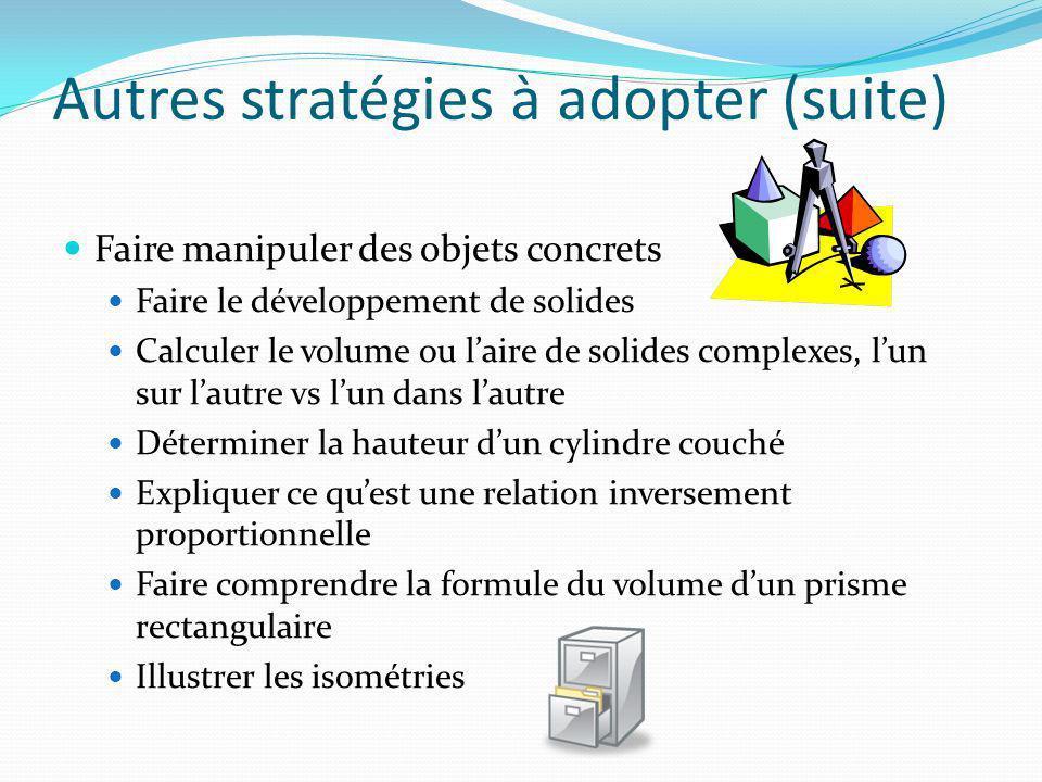 Autres stratégies à adopter (suite) Faire manipuler des objets concrets Faire le développement de solides Calculer le volume ou laire de solides compl