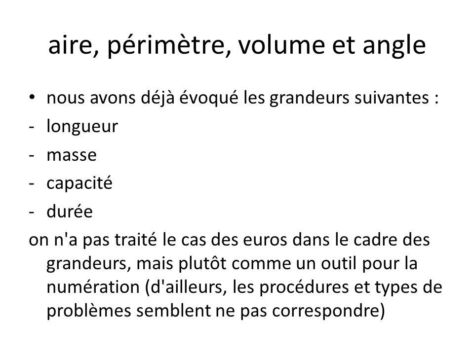 aire, périmètre, volume et angle nous avons déjà évoqué les grandeurs suivantes : -longueur -masse -capacité -durée on n a pas traité le cas des euros dans le cadre des grandeurs, mais plutôt comme un outil pour la numération (d ailleurs, les procédures et types de problèmes semblent ne pas correspondre)