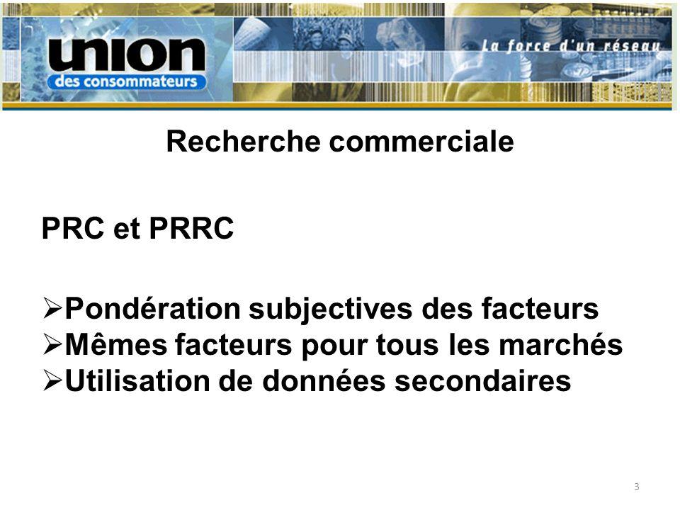 Recherche commerciale PRC et PRRC Pondération subjectives des facteurs Mêmes facteurs pour tous les marchés Utilisation de données secondaires 3
