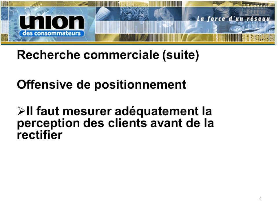 Recherche commerciale (suite) Offensive de positionnement Il faut mesurer adéquatement la perception des clients avant de la rectifier 4