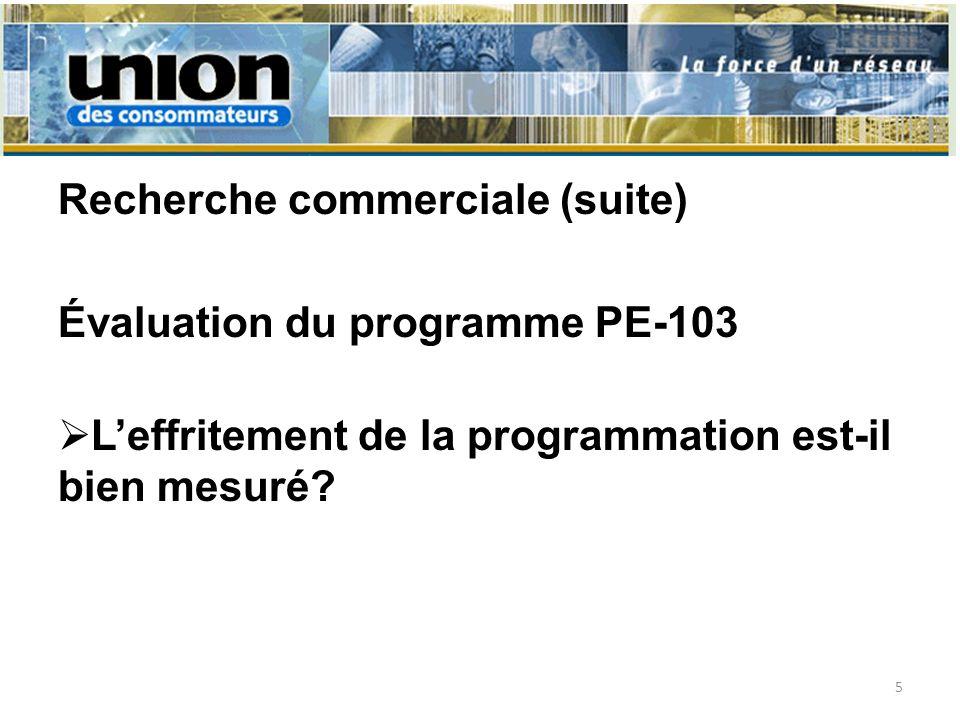 Recherche commerciale (suite) Évaluation du programme PE-103 Leffritement de la programmation est-il bien mesuré.