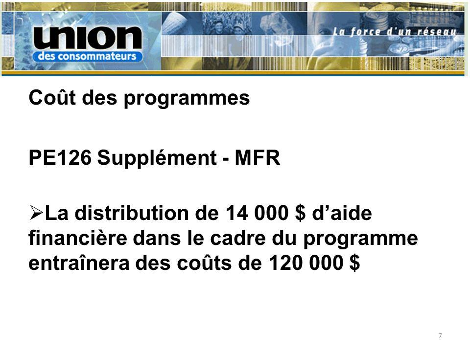 Coût des programmes PE126 Supplément - MFR La distribution de 14 000 $ daide financière dans le cadre du programme entraînera des coûts de 120 000 $ 7